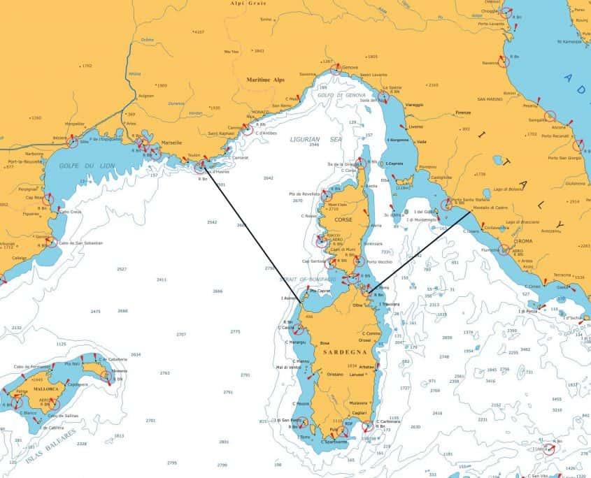 Pelagos Sanctuary map